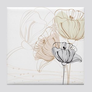 Delicate Painted Poppies Tile Coaster