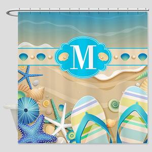 Beach Flip Flop Monogram Shower Curtain