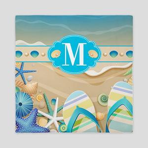 Beach Flip Flop Monogram Queen Duvet