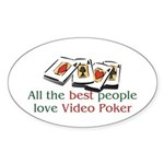Video Poker Oval Sticker