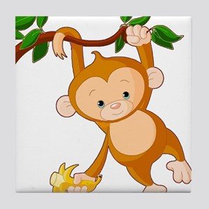 Monkey Hanging from Tree Limb Holding Tile Coaster
