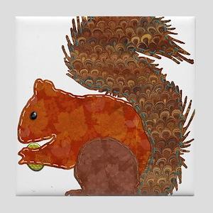 Fabric Applique Squirrel Tile Coaster