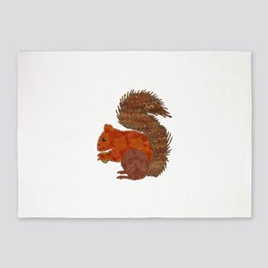 Fabric Applique Squirrel 5'x7'Area Rug