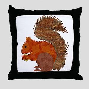 Fabric Applique Squirrel Throw Pillow