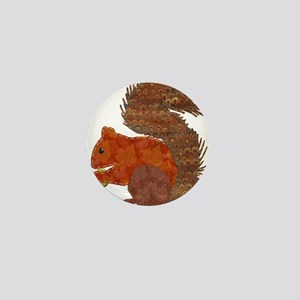 Fabric Applique Squirrel Mini Button