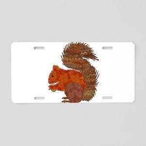 Fabric Applique Squirrel Aluminum License Plate