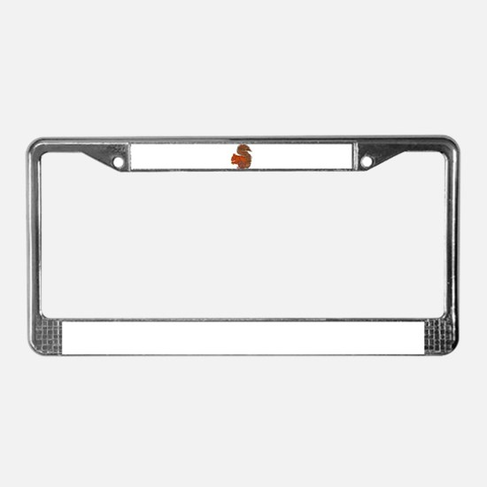 Fabric Applique Squirrel License Plate Frame