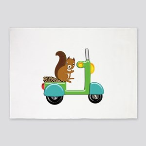Squirrel on a Scooter 5'x7'Area Rug