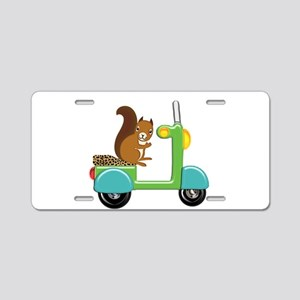 Squirrel on a Scooter Aluminum License Plate