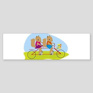 Squirrels on a Tandem Bike Bumper Sticker