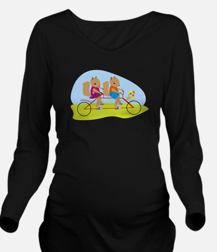 Squirrels on a Tande Long Sleeve Maternity T-Shirt