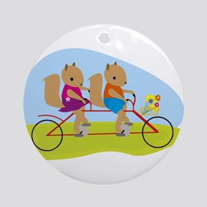 Squirrels on a Tandem Bike Ornament (Round)