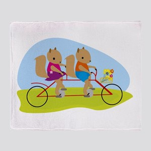 Squirrels on a Tandem Bike Throw Blanket