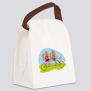 Squirrels on a Tandem Bike Canvas Lunch Bag