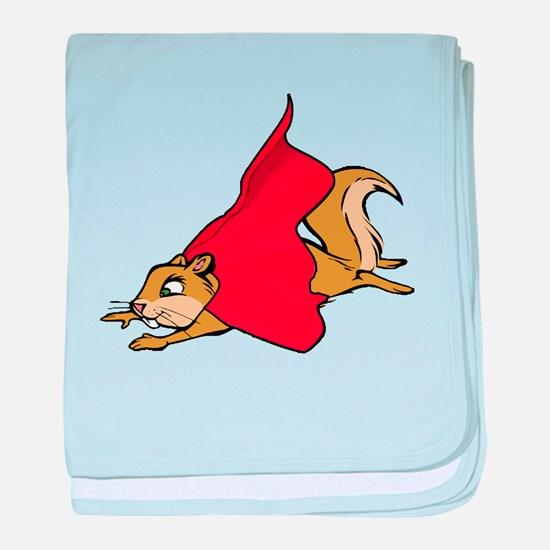 Flying Super Squirrel in Red Cape baby blanket