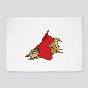 Flying Super Squirrel in Red Cape 5'x7'Area Rug