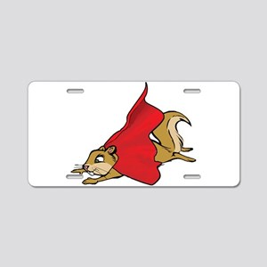 Flying Super Squirrel in Re Aluminum License Plate