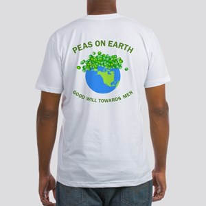 Peas on Earth Back Image Fitted T-Shirt