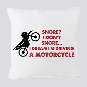 Snore Motorcycle Woven Throw Pillow