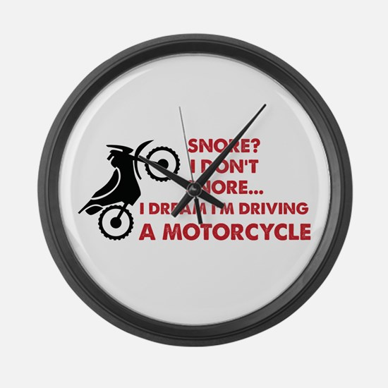 Snore Motorcycle Large Wall Clock