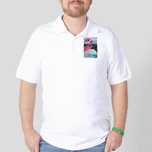 Santa Flamingo Golf Shirt
