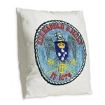 USS HAROLD E. HOLT Burlap Throw Pillow