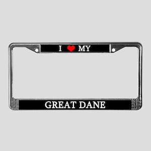 Love Great Dane License Plate Frame