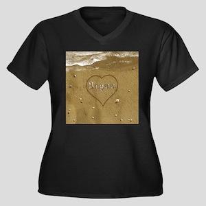 Brynn Beach Women's Plus Size V-Neck Dark T-Shirt