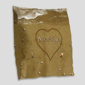 Brooklyn Beach Love Burlap Throw Pillow