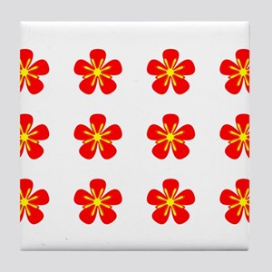 Red Floral Georgia's fave Tile Coaster