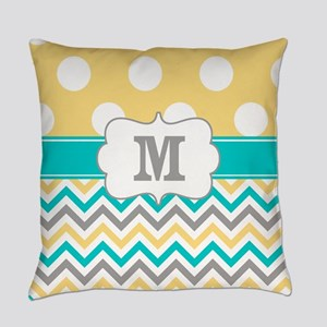 Yellow Gray Teal Dots Monogram Everyday Pillow