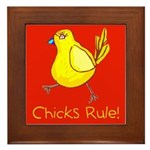 Kid Art Chicks Rule Framed Tile
