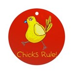 Kid Art Chicks Rule Ornament (Round)
