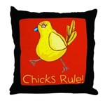 Kid Art Chicks Rule Throw Pillow