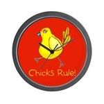 Kid Art Chicks Rule Wall Clock