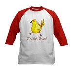 Kid Art Chicks Rule Kids Baseball Jersey