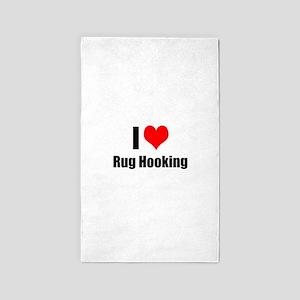 I Heart Rug Hooking Area Rug