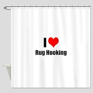 I Heart Rug Hooking Shower Curtain
