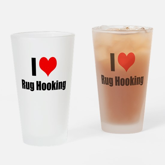 I Heart Rug Hooking Drinking Glass