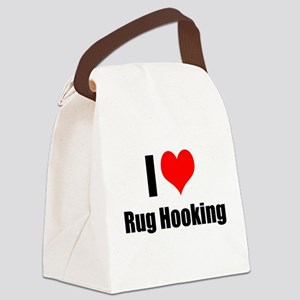 I Heart Rug Hooking Canvas Lunch Bag