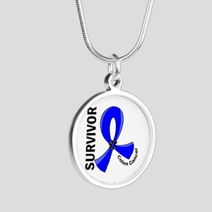 Colon Cancer Survivor 12 Silver Round Necklace
