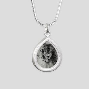 wolf Alpha Omega Silver Teardrop Necklace