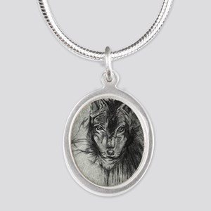 wolf Alpha Omega Silver Oval Necklace