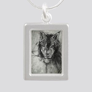 wolf Alpha Omega Silver Portrait Necklace