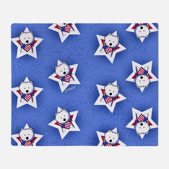 KiniArt US Westie Stars 2 Throw Blanket