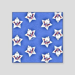 "KiniArt US Westie Stars 2 Square Sticker 3"" x 3"""