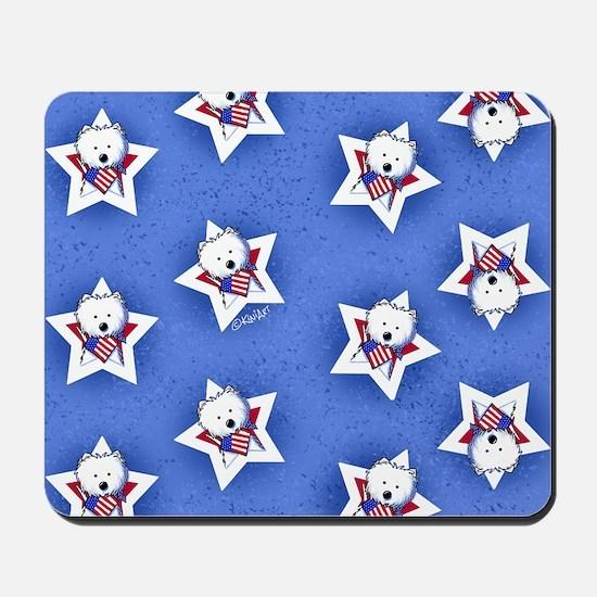 KiniArt US Westie Stars 2 Mousepad