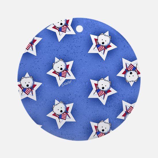 KiniArt US Westie Stars 2 Round Ornament
