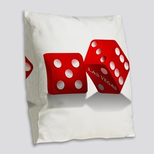 Las Vegas Red Dice Burlap Throw Pillow