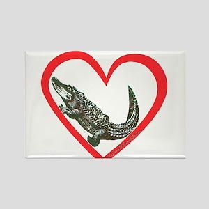Alligator Heart Rectangle Magnet